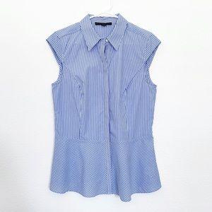 Antonio Melani Peplum Top Blue White Pinstripe